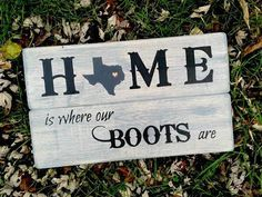 Rustic Home Sign State Silhouette Texas Sign by HoneysuckleLaneCo