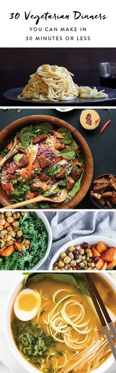 From cauliflower meatballs to coconut curry, here are 30 totally low-maintenance vegetarian dinner recipes to try out.