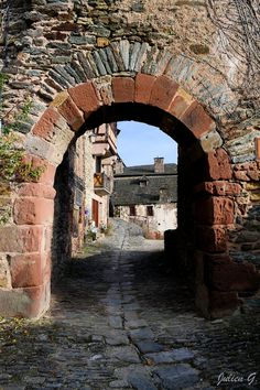 Porch Stone Arch at the Entrance of Conques ~ Aveyron, France