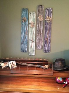 Reclaimed Wood Sign3D Rock Flowers on Reclaimed von CSquaredCustoms