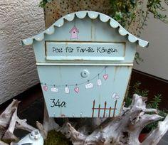 shabby briefkasten in blau mit v gelchen cute blue postbox with birds made by kirschenrot via. Black Bedroom Furniture Sets. Home Design Ideas