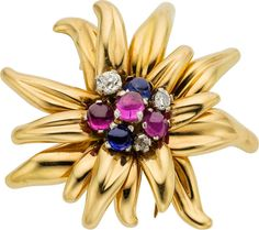 CARTIER Retro Diamond, Ruby, Sapphire, Gold Clip-Brooch, Cartier, French