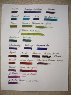 Diamine Music Set - Ink Comparisons - The Fountain Pen Network