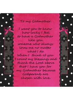 Godmother Picture Frame Insert Gift Idea