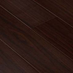 Goodwood Wood Flooring Expresso Walnut Laminate Flooring Tile with  thickness: 12mm, width: 5 In., length: 4'