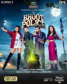 #BhootPolice to premiere directly on Disney+ Hotstar - September 17th. Hindi Bollywood Movies, Hindi Movies, Bollywood Actress, It Movie Cast, It Cast, Prime Movies, Movie Scripts, Tips & Tricks, Disney Plus