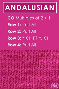 Andalusian Knit Stitch Pattern Free Instructions by Studio Knit with Video Tutorial #StudioKnit #knitstitchpattern #knittingstitches #howtoknit #knittingpattern