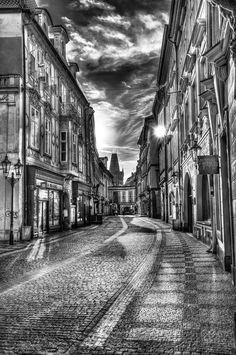 Prague morning cityscape in black and white