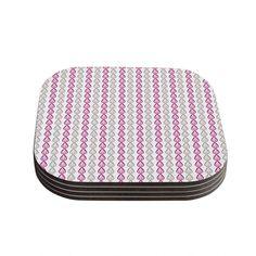 Kess InHouse Julie Hamilton 'Plum Pod' Purple Gray Coasters