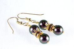 Purple Iridescent Swarovski Pearl Earrings by NancysCrystalFantasi.  For sale on Etsy just $20.  Click here for more information.  https://www.etsy.com/listing/211895915