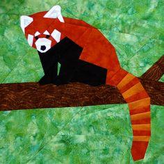 Red Panda w/Branch paper-piecing quilt pattern PDF