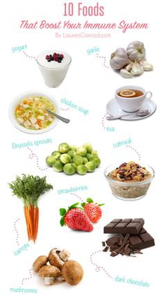 Tuesday Ten: Immune Boosting Foods! Check it out guys:)   1. Yogurt 2. Garlic 3. Chicken soup 4. Tea 5. Mushroom 6. Strawberries 7. Brussels sprouts 8. Oatmeal 9. Carrots 10. Dark Chocolate_