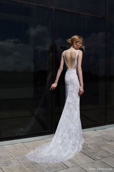 mira zwilinger bridal 2016 stardust elle sequin lace v neck sleevelesss wedding dress back view train