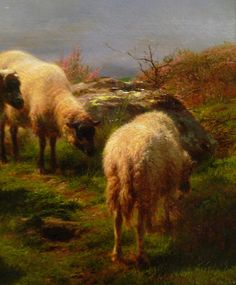 Rosa Bonheur, Sheep in the Highlands, detail with sheep grazing by profzucker, via Flickr