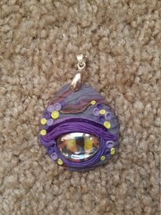 Dragon Eye Pendant - Purples and Yellow by TNTPatterns on Etsy
