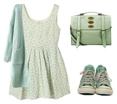 """""""Mint green"""" by tania-alves ❤ liked on Polyvore featuring The Cambridge Satchel Company and Converse"""