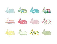 Rabbits all over fun illustration  Easter  by TheJoyofColor, $21.00