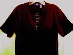BASIC EDITIONS Black Ribbed Top Size Medium 100% Cotton Silver Snaps #BasicEditions #KnitTop #Career