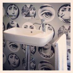 Fornasetti Wallpaper In The Bathroom