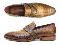 - Handmade Exotic skin Loafers - Camel color genuine python (snakeskin) upper - Hand finished leather sole. - Bordeaux leather lining and inner sole This is a made-to-order product. Please allow 15 da