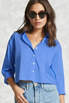 Product Name:Boxy Button-Up Shirt, Category:CLEARANCE_ZERO, Price:17.9