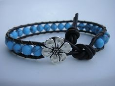 Turquoise Beaded Leather Bracelet with Flower Button by Tina610