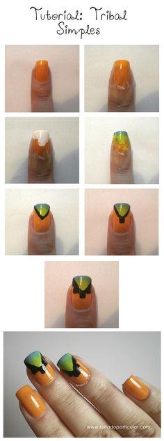 Tutorial nail art Tribal: http://feriadoparticular.com/tutorial-tribal-simples-e-facil/