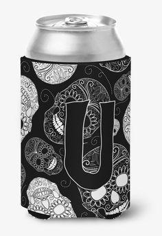 Letter U Day of the Dead Skulls Black Can or Bottle Hugger CJ2008-UCC