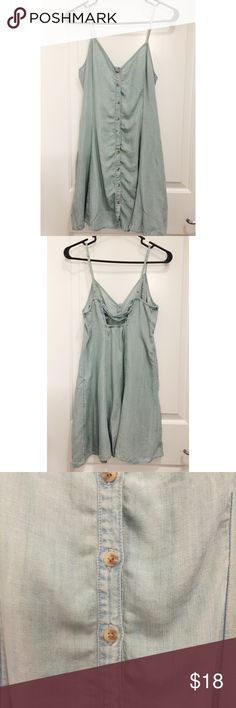 American Eagle Chambray Strapless Dress American Eagle chambray Strapless Dress with buttons all the way down. Size medium with strings in back to tie. Never worn, without tags. Speedy shipping from smoke free home! American Eagle Outfitters Dresses