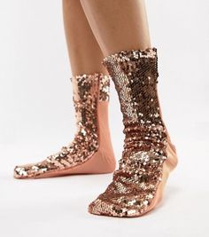Browse online for the newest ASOS DESIGN rose gold sequin sock styles. Shop easier with ASOS' multiple payments and return options (Ts&Cs apply). Socks And Heels, Bat Mitzvah Dresses, Fashion Shoes, Fashion Accessories, Patterned Socks, Mode Online, Sock Shoes, Trends, Shoes