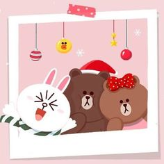 Christmas is so warm if you enjoy it with your loved ones Picture source: Line Friends Hong Kong Macau's official Line account Line Account, Line Cony, Cony Brown, Brown Bear, Cute Love Pictures, Bunny And Bear, Picture Source, Friends Wallpaper, Line Friends