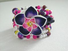 Purple Pink and White with Crystal Polymer Clay by OctoberPetals