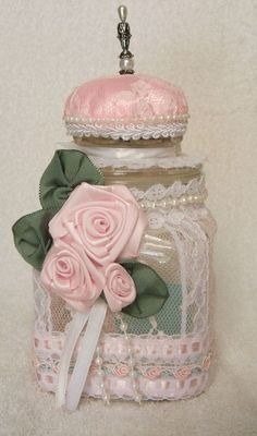 **Etsy :: RoseGardenStitches :: Shabby Rose Lace Jar For Sewing/Pin Cushion Bath Salts Candy Jar Shabby Chic Crafts, Vintage Crafts, Vintage Shabby Chic, Mason Jar Crafts, Bottle Crafts, Lace Jars, Decoration Shabby, Home Decoracion, Jar Art