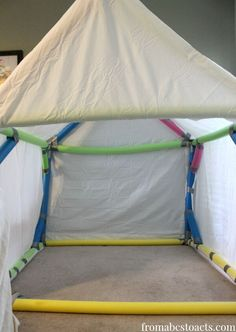 No sharp edges here! You'll love knowing your kids are safe even when they're rough housing in their indoor tent.  This blogger used a little tape to secure sides, which also means the tear down will be a breeze.