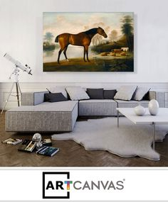 Ready-to-hang Mr Ogilvie's Bay Racehorse on a Riverbank with a Group of Cows Canvas Art Print for Sale canvas art print for sale. Margrave, Banksy Canvas, Cow Canvas, Racehorse, Art Prints For Sale, Hollyhock, Canvas Art Prints, Couch, Horses