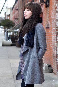 •Keiko Lynn •Fringe •Wool •Scarf •Grey •Autumn