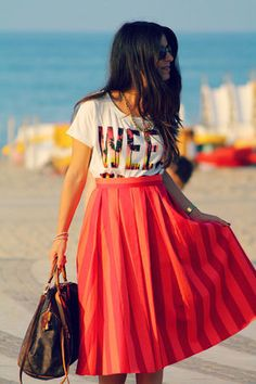 skirt and tee outfit