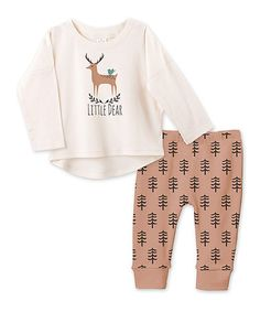 Another great find on #zulily! Ivory & Clay 'Little Dear 'Top & Pants - Infant #zulilyfinds