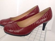 Karen Scott Womens Collin Red Crocodile Embossed Pump Shoes Size 11 M #KarenScott #PumpsClassics