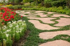 Pathway design and flower in garden at the King Royal Flora Ratchapruek Chiangmai,Thailand.