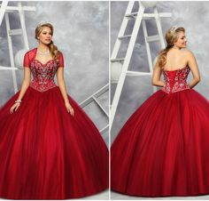 Style 80363 in 'Claret' is so timeless and elegant! Featuring a gorgeous tulle skirt and sparkly crystal beading! www.qbydavinci.com