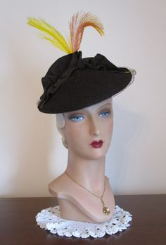 Dolores 1950's Black Veil Hat with Velvet Bow by TheMadHatLady
