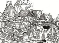 Woodcut -- Landsknecht Encampment at the Siege of Munster.