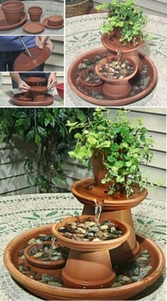 DIY Clay Pot Water Feature Is An Easy Project bands cushion DIY Clay Pot Water Feature Instructions {Video} Small Water Features, Outdoor Water Features, Water Features In The Garden, Diy Water Fountain, Diy Garden Fountains, Water Garden, Fountain Garden, Homemade Water Fountains, Backyard Water Fountains