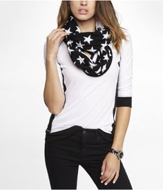 Star Intarsia Reversible Infinity Scarf #express #EXPownit #fashion #accessories