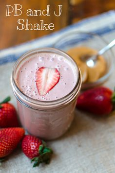 One of our favorite concoctions- the PB & J shake. Full of #protein, fruit and just a touch of sweetness. Blend:  ¼ cup Bob's Red Mill Soy Protein Powder, 2 Tbsp peanut butter, 2/3 cup strawberries, 1 cup milk, and 1 tsp maple syrup #smoothie #vegan #glutenfree #weightloss #resolutions