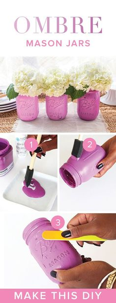 Ombre Distressed Mason Jars | DIY Painted Mason Jar Designs by DIY Ready at http://diyready.com/how-to-make-a-diy-mason-jar-chandelier/