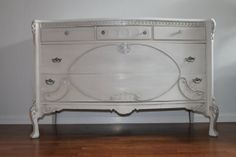 Vintage French Off White/Grey Large by SalvageChicStudio on Etsy, $625.00