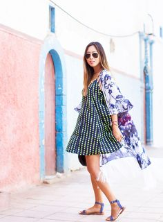 Aimee Song of Song of Style in a polka dot dress and sandals