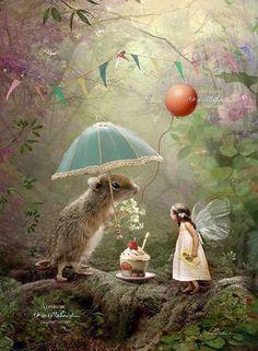 ideas garden fairy illustration vintage prints for 2019 Cupcake Pictures, Garden Illustration, Fairy Art, Whimsical Art, Dragons, Fantasy Art, Fairy Tales, Happy Birthday, 21 Birthday